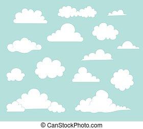 collection, de, dessin animé, nuages