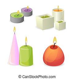 collection, de, différent, arôme, bougies, pour, relax., peu, relaxation, flamme
