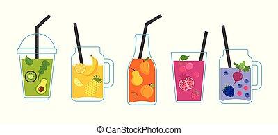 collection, de, différent, coloré, smoothies, fruit, secousses, dans, a, bouteilles, verre, fioles maçon