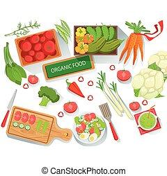 collection, de, différent, frais, organique, légumes, illustration, à, ferme, développé, eco, produits