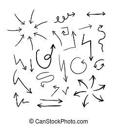 collection, de, différent, main, dessiné, flèches