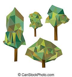 collection, de, différent, origami, arbre, isolé, blanc, backgroun