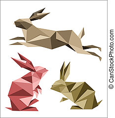 collection, de, différent, origami, lapin, poses