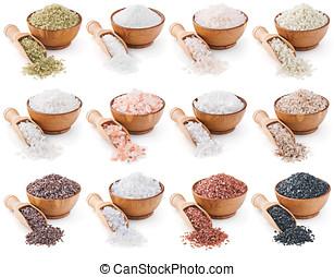 collection, de, différent, types, de, sel, isolé, blanc