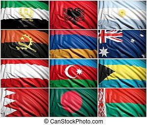 collection, de, drapeaux