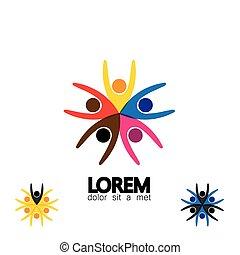 collection, de, gens, icônes, dans, cercle, -, vecteur, concept, engagement, togetherness.