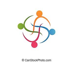 collection, de, gens, icônes, dans, cercle, -, vecteur, concept, engagement, togetherness