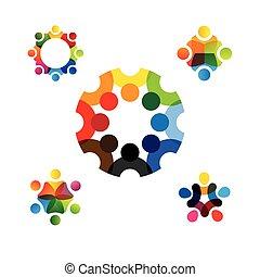 collection, de, gens, icônes, dans, cercle, -, vecteur, concept, engagement