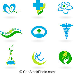collection, de, icônes médicales