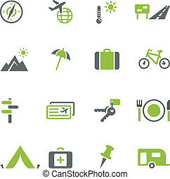 collection, de, icônes, pour, voyage, tou