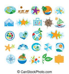 collection, de, icônes, pour, voyage tourisme