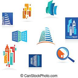 collection, de, immobiliers, icônes, et, éléments