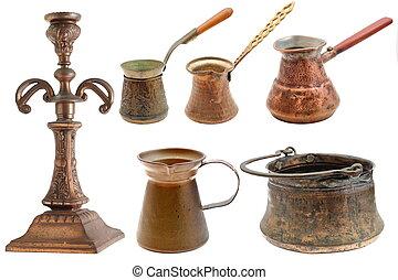 collection, de, laiton, objets