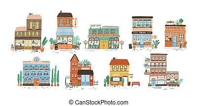 collection, de, magasins, magasins, café, restaurant,...