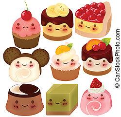 collection, de, mignon, dessert