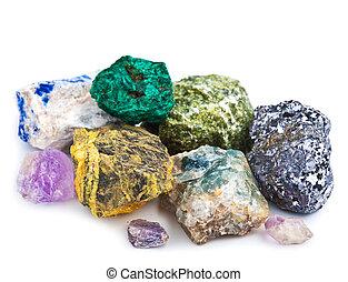 collection, de, minéraux, isolé