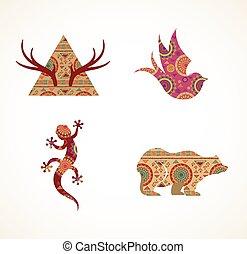 collection, de, modelé, bohémien, tribal, objets, éléments, et, icônes