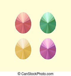 collection, de, moderne, plat, conception, à, quatre, différent, origami, oeufs pâques