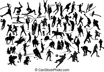 collection, de, noir blanc, sport, silhouettes., vecteur,...