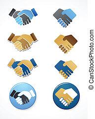 collection, de, poignée main, icônes, et, éléments