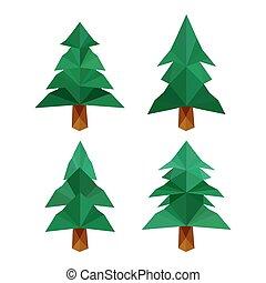 collection, de, quatre, différent, origami, arbres pin
