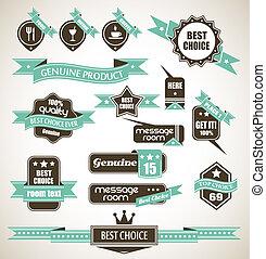 collection, de, retro, bi-colours, vendange, étiquettes
