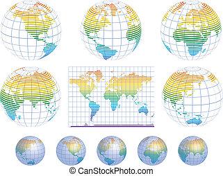 collection, de, vecteur, globes