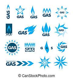 collection, de, vecteur, logos, de, gaz naturel