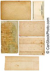 collection, de, vendange, papier, lambeaux