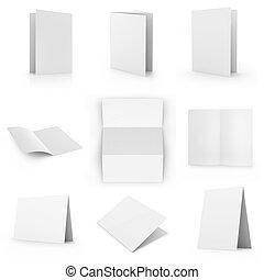 collection, de, vide, carte, isolé, blanc