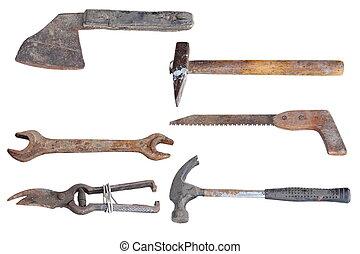 collection, de, vieux, outils