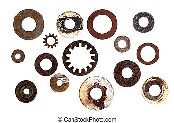 collection, de, vieux, rouillé, rondelles, isolé