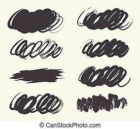 collection, dessiné, brosse, strok, main