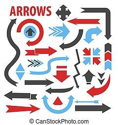 collection, différent, formes, flèches, pointage, divers, direction, icônes
