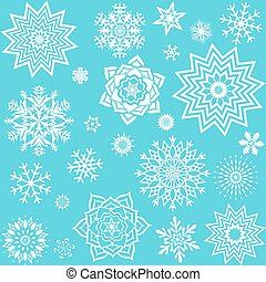 Collection different snowflakes. Element design for winter decor.