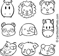 Collection doodle animal head style