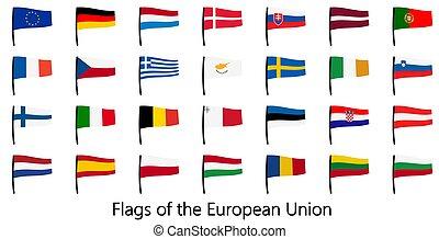 collection, drapeaux, eu