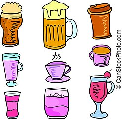 Collection drink set various doodles