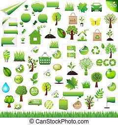 Collection Eco Design Elements, Isolated On White Background...