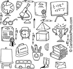 Collection education supplies doodles