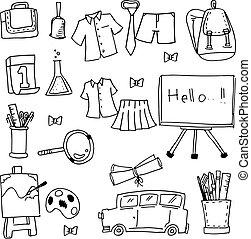 Collection element school doodles