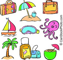 Collection element summer doodle style
