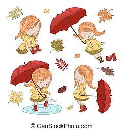 collection, ensemble, illustration, girl, automne, parapluie, caractère, vecteur
