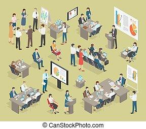 collection, entraînement, vecteur, bureau, business