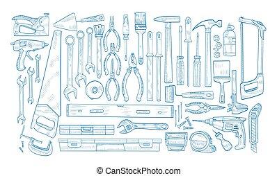 collection, entretien, blanc, bleu, travail bois, vecteur, électrique, réparation, manuel, réaliste, main, actionné, contour, illustration., arrière-plan., maison, monochrome, dessiné, lignes, outils