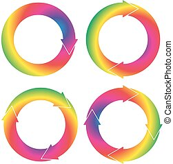 Set of 4 isolated circular arrows with different number of arrowheads in rainbow color gradient