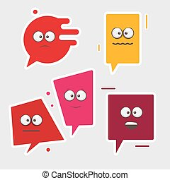 Collection face stickers. Isolated vector illustration.