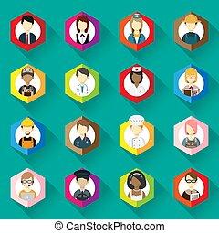 collection, femme, icônes, différent, set., illustration, occupation, icône, homme, design., professions, plat, vecteur