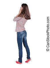 collection., femme, isolé, jeans., jeune, arrière-plan., vue...
