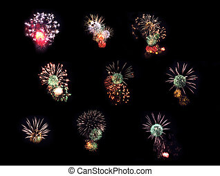 Collection fireworks - Collection of fires of celebratory...
